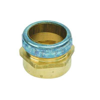 1-1/2 in. O.D. Compression x 1-1/2 in. FIP Brass Waste Connector with Die Cast Nut in Rough Finish