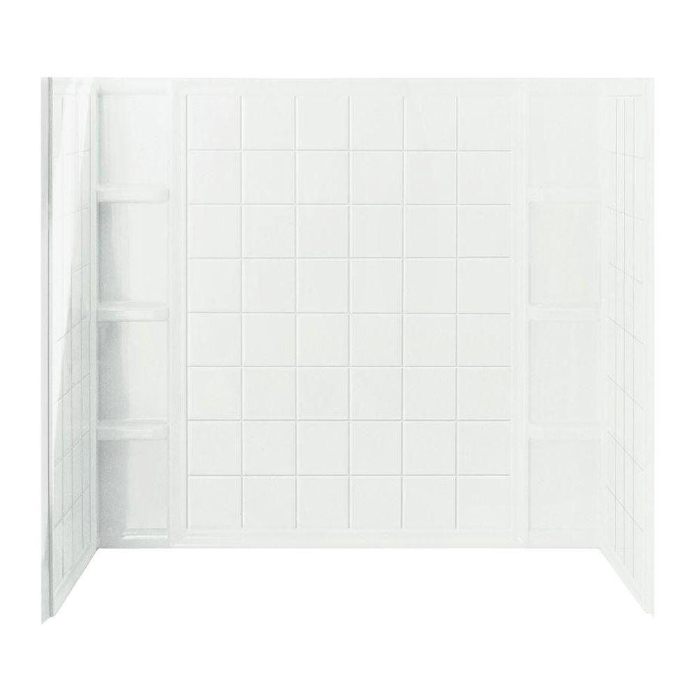 STERLING Ensemble Tile 37-1/2 in. x 60 in. x 54-1/4 in. 3-piece Direct-to-Stud Tub and Shower Wall Set in White