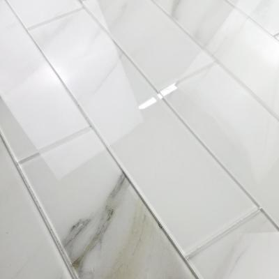 Handmade Decor Calacatta White Marble Look Large Format 4 in. x 16 in. Glossy Glass Decorative Wall Tile (6 Pc/Pack)