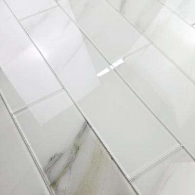 Nature 4 in. x 16 in. White Calacatta Glass Peel and Stick Decorative Wall Tile Backsplash (6-Pieces/Pack)
