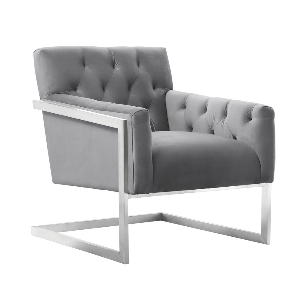 Armen Living Emily Grey Velvet Contemporary Accent Chair in Brushed Stainless