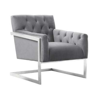Armen Living Emily Grey Velvet Contemporary Accent Chair in Brushed Stainless Steel