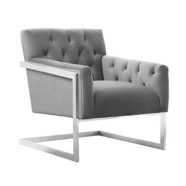 Modern Unique Accent Chairs.Armen Living Emily Grey Velvet Contemporary Accent Chair In Brushed Stainless Steel