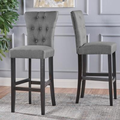 Pia 45.50 in. Grey Tufted Bar Stools (Set of 2)