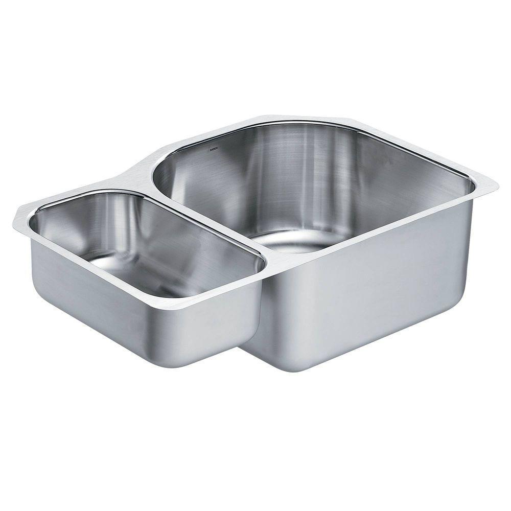 1800 Series Undermount Stainless Steel 30.25 in. Double Bowl Kitchen Sink