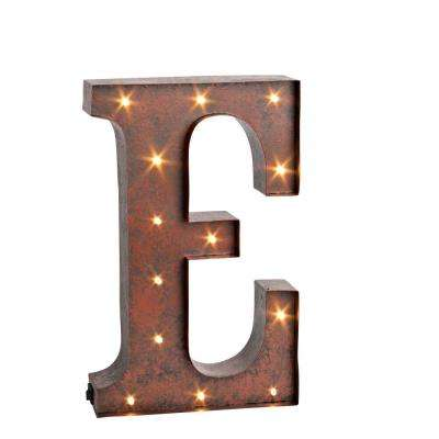 "12 in. H ""E"" Rustic Brown Metal LED Lighted Letter"