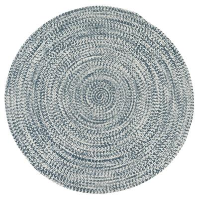 Kaari Arctic Blue 10 ft. x 10 ft. Tweed Indoor/Outdoor Round Area Rug