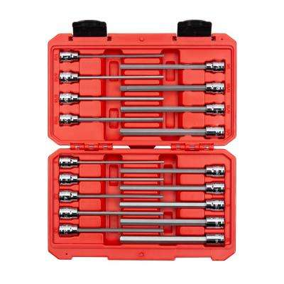 3/8 in. 1/8 in. to 3/8 in. 3 mm to 10 mm Drive Long Hex Bit Socket Set (18-Piece)