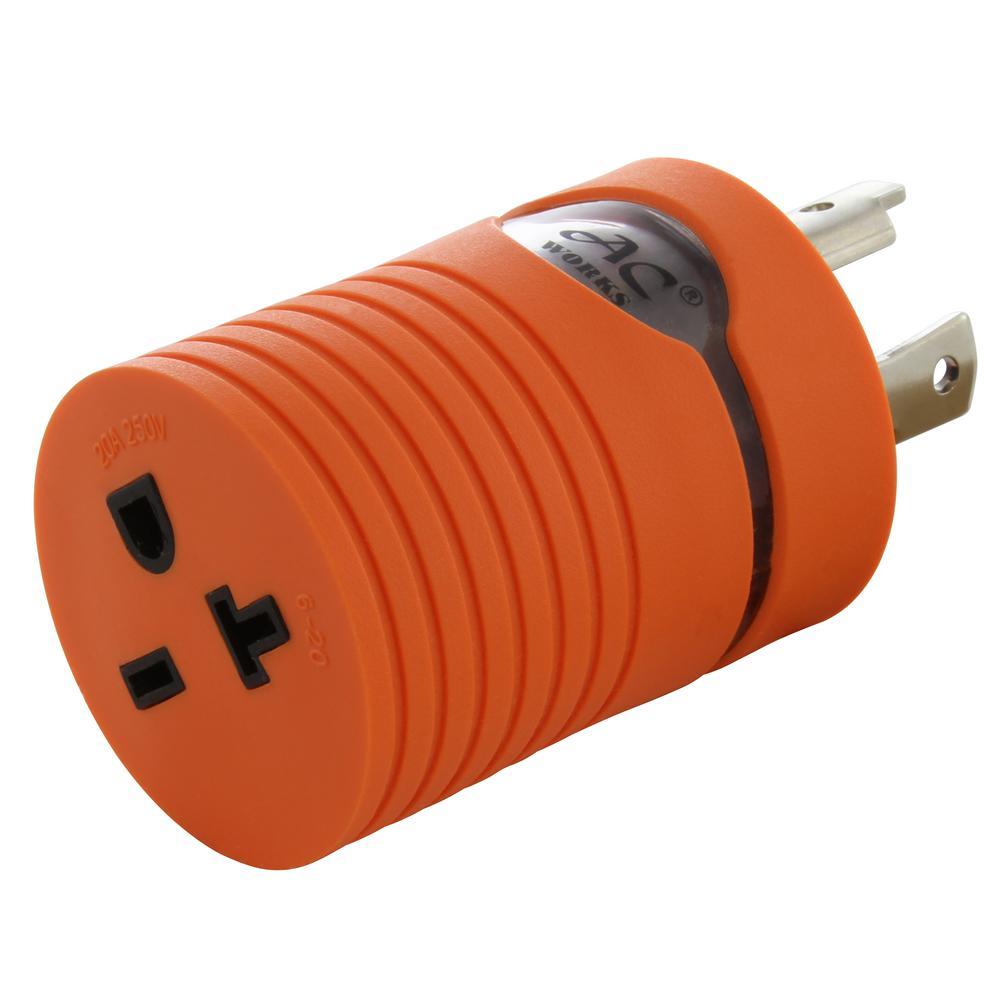 Locking Adapter NEMA L6-30P 30 Amp 250-Volt Locking Plug to NEMA 6-15/20R 15/20 Amp 250-Volt Female Connector