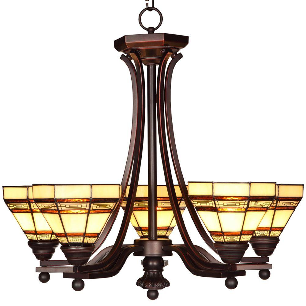 Hampton Bay Addison 5-Light Oil Rubbed Bronze Chandelier with Tiffany Style Stained Glass Shades
