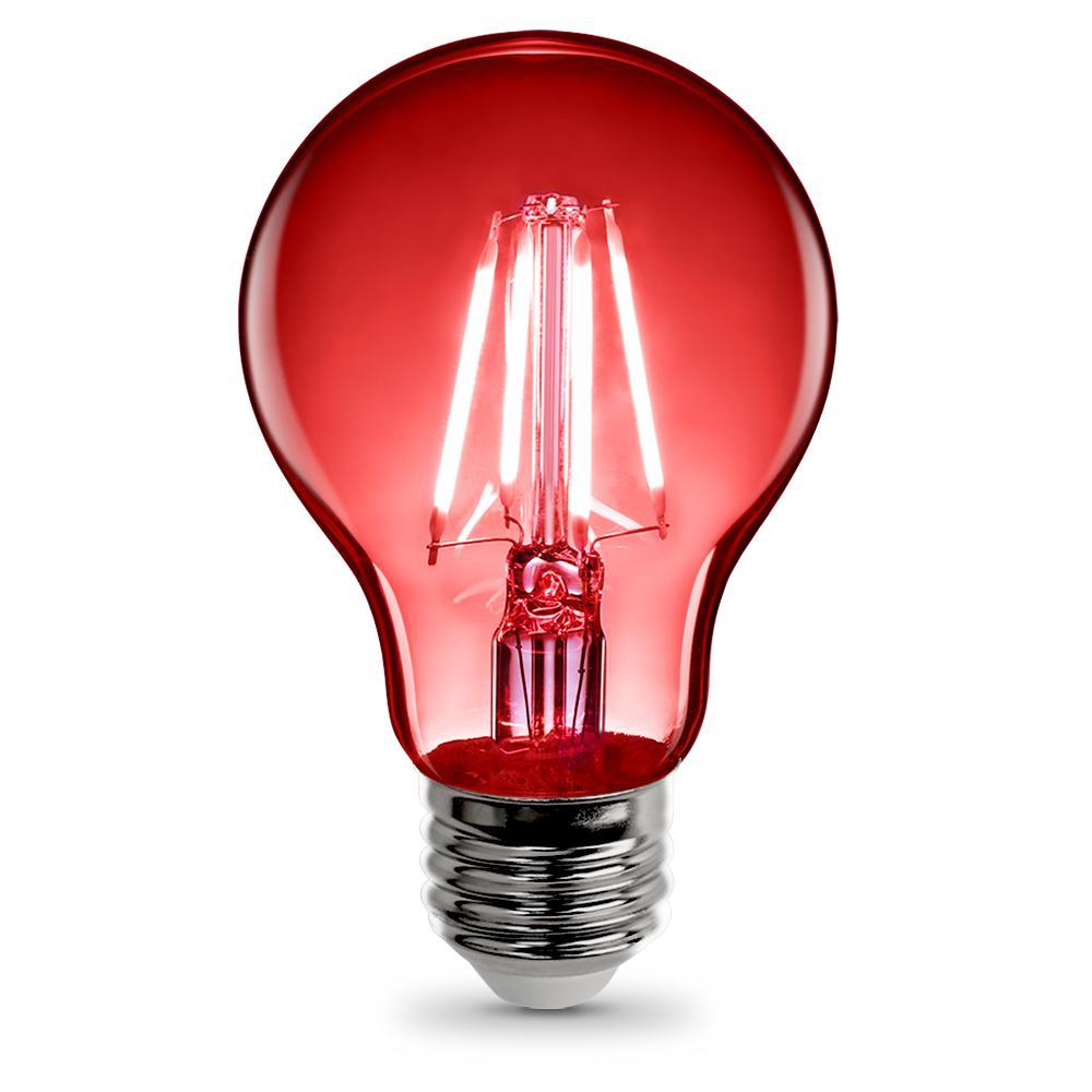 25-Watt Equivalent A19 Medium E26 Base Dimmable Filament LED Light Bulb Red Colored Clear Glass (1-Bulb)