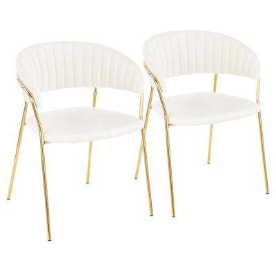 Tania Gold with White Velvet Arm Chair (Set of 2)