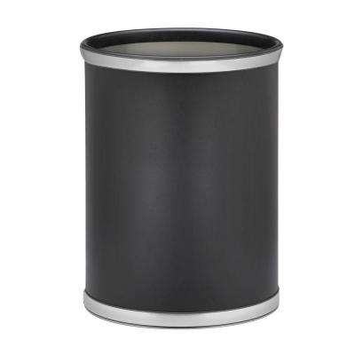 Sophisticates 13 Qt. Black w/Brushed Chrome Oval Waste Basket