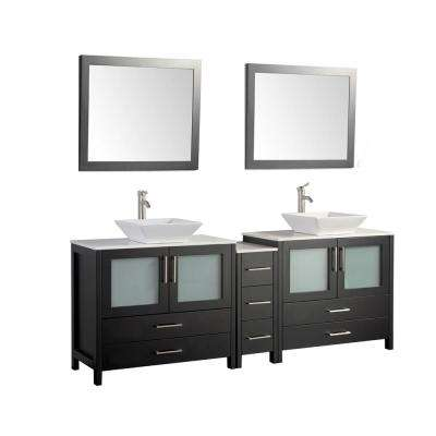 Ravenna 84 in. W x 18.5 in. D x 36 in. H Bathroom Vanity in Espresso with Double Basin Top in White Ceramic and Mirrors