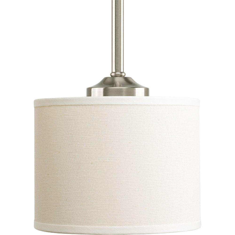 Progress Lighting Inspire Collection 1 Light Brushed Nickel Mini Pendant With Beige Linen Shade P5065 09