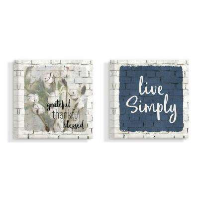 "17 in. x 17 in. ""Love And Live Simply Farm House Windmill White Brick Look"" by Kimberly Allen Canvas Wall Art (2-Piece)"