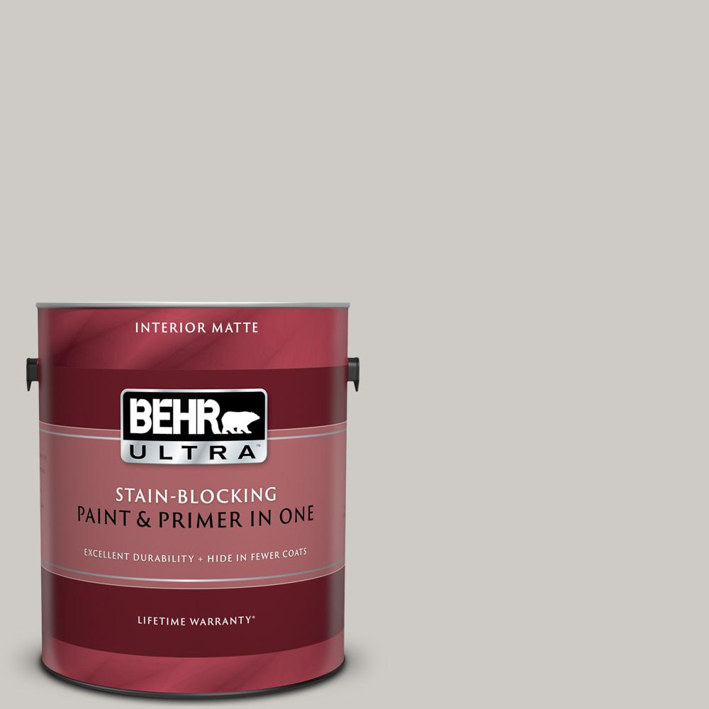 BEHR ULTRA 1 gal. #PPU26-10 Chic Gray Matte Interior Paint and Primer in One