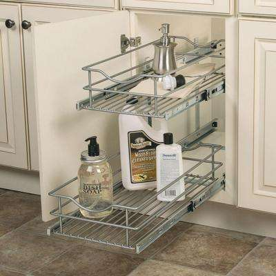11.625 in. W x 21.75 in. D x 16.25 in. H Double Tier Pull-Out Multi-Use Basket Cabinet Organizer