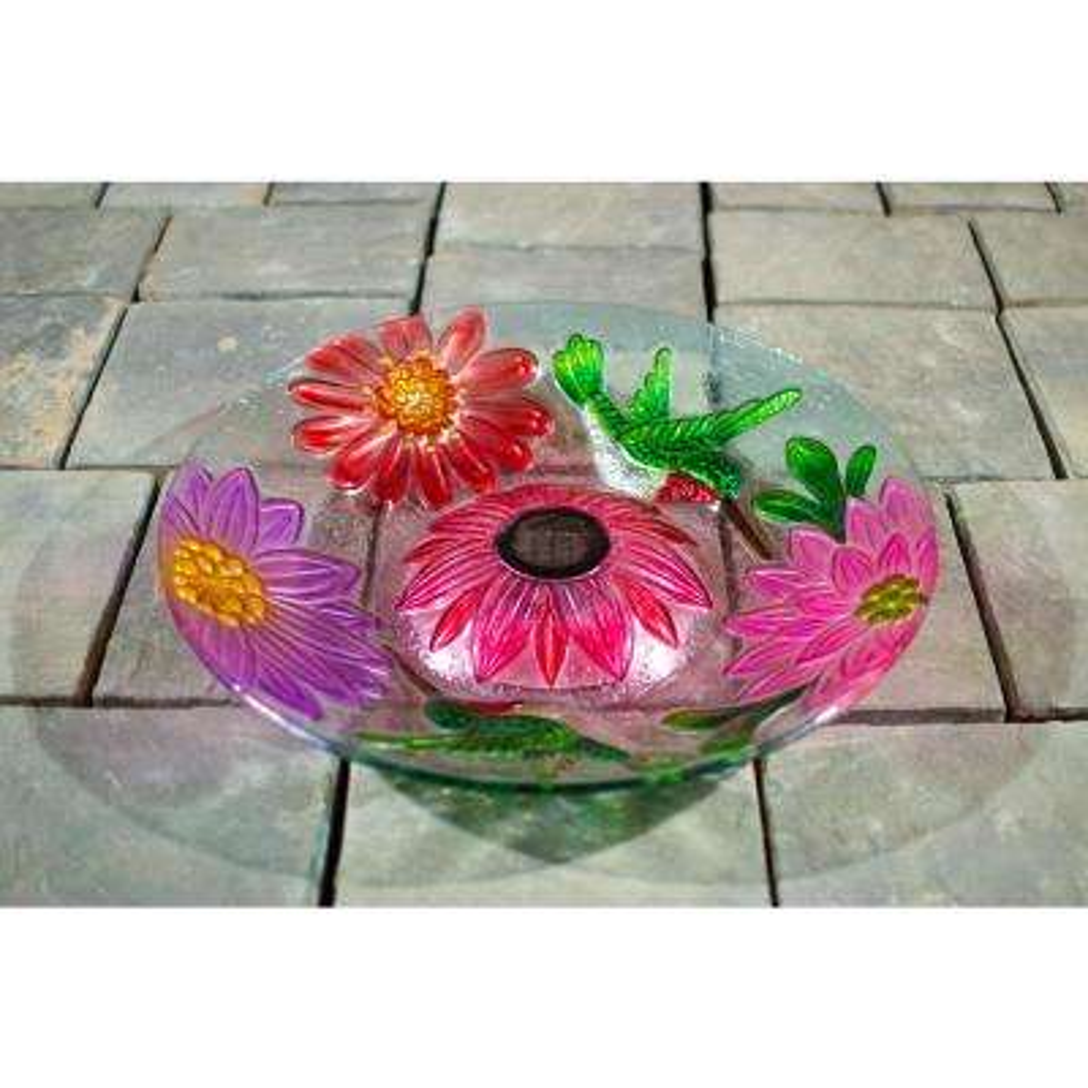 Solar Glass Floral Hummingbird Bird Bath