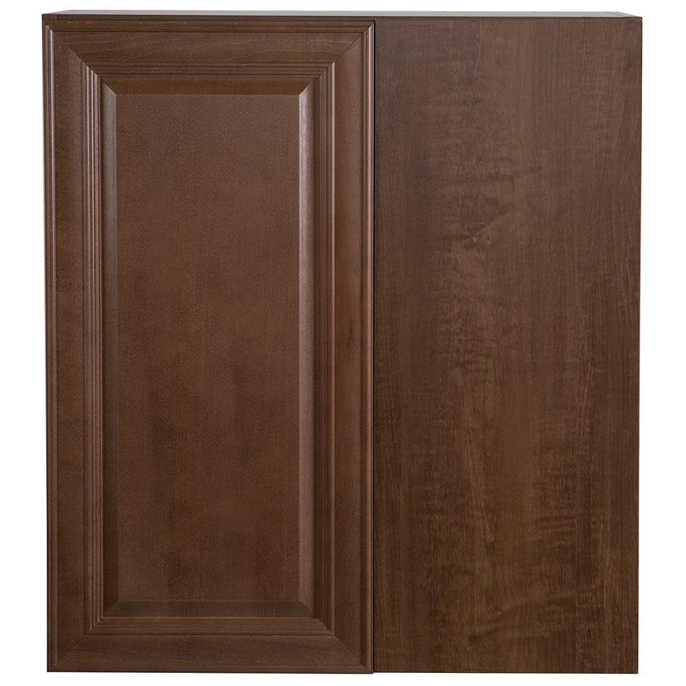 Benton Assembled 27x12.5x30 in. Blind Wall Corner Cabinet in Butterscotch