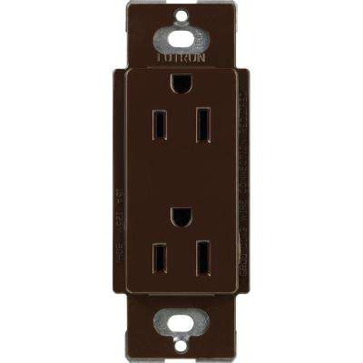 Claro 15 Amp Duplex Outlet, Brown