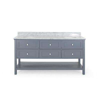 Dawson 72 in. W x 22 in. D Bath Vanity with Carrara Marble Vanity Top in Grey with White Basin