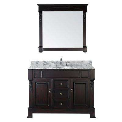 Huntshire 49 in. W Bath Vanity in Dark Espresso with Marble Vanity Top in White with Round Basin and Mirror