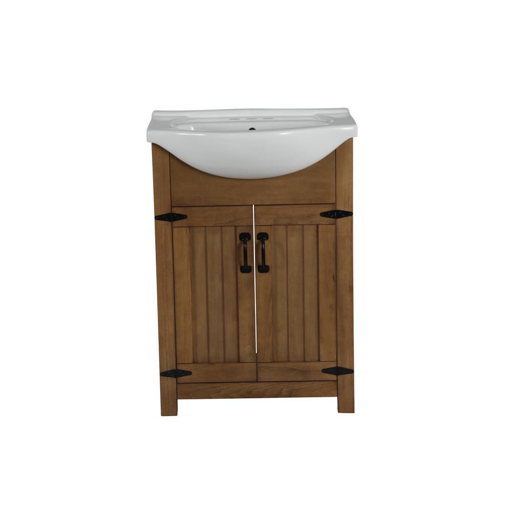 24 in. W x 17 in. D x 34 in. H Bath Vanity in Weathered with Ceramic Vanity Top in White with White Basin