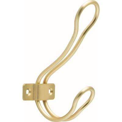 4-1/2 in. Brushed Brass Rustic Wire Coat Hook