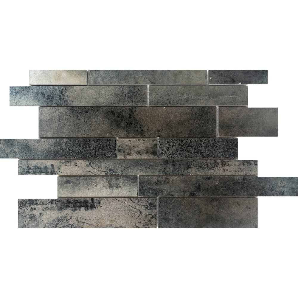 Emser Alchemy Silver 12.44 in. x 18.98 in. x 9mm Porcelain Mesh-Mounted Mosaic Tile