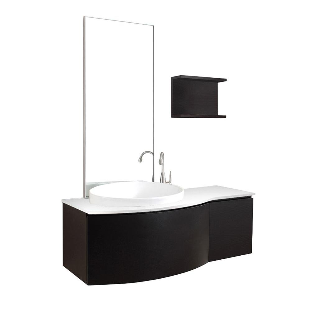 Virtu USA Isabelle 48 in. Single Basin Vanity in Espresso with Stone Vanity Top in White and Mirror