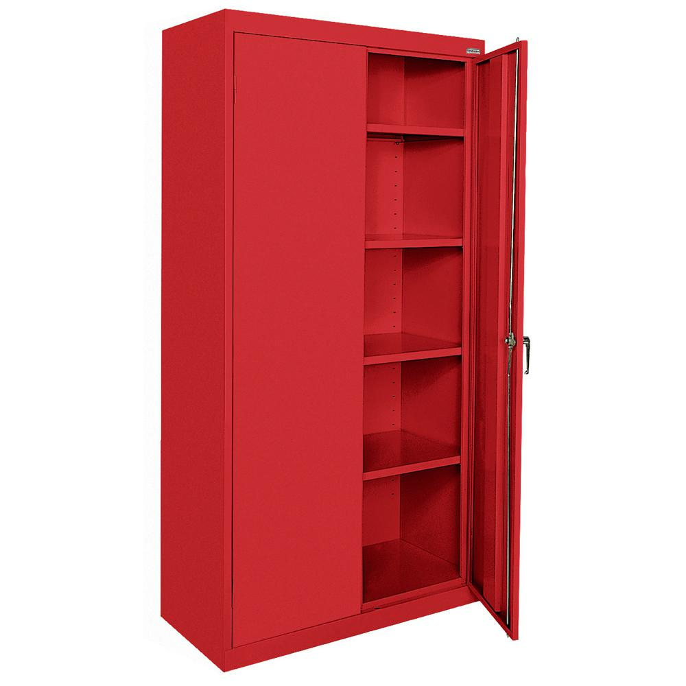 Sandusky Classic Series 72 in. H x 36 in. W x 18 in. D Steel Freestanding Storage Cabinet with Adjustable Shelves in Red