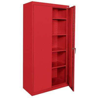 Classic Series 72 in. H x 36 in. W x 18 in. D Steel Freestanding Storage Cabinet with Adjustable Shelves in Red