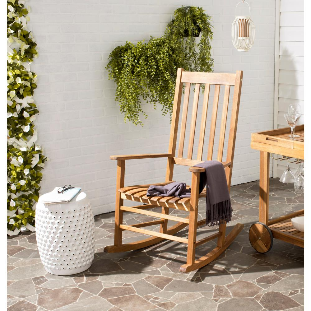 safavieh shasta teak wood outdoor rocking chair pat7002a the home depot. Black Bedroom Furniture Sets. Home Design Ideas