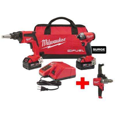 M18 FUEL 18-Volt Li-Ion Brushless Cordless Drywall Screw Gun/Impact Driver Combo Kit with Free M18 1/2 in. Mud Mixer