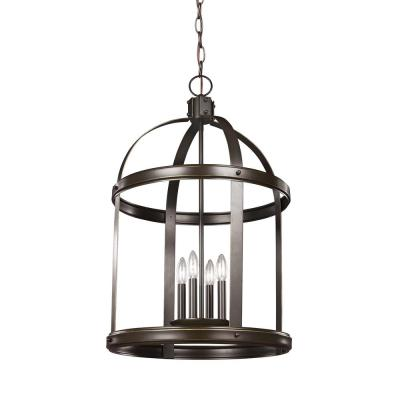 Lonoke 4-Light Heirloom Bronze Hall-Foyer Pendant with Dimmable Candelabra LED Bulb
