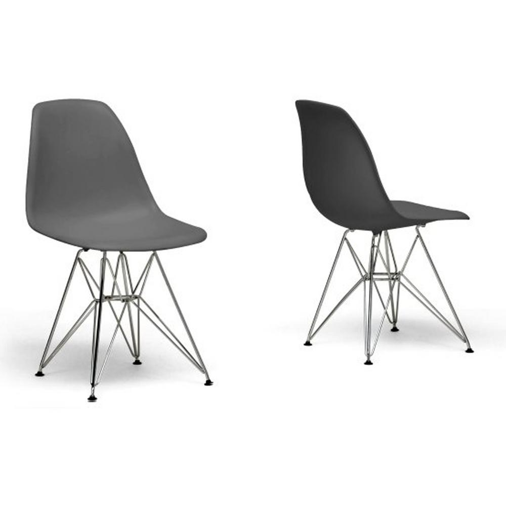 Azzo Gray Finished Plastic Dining Chairs (Set of 2)