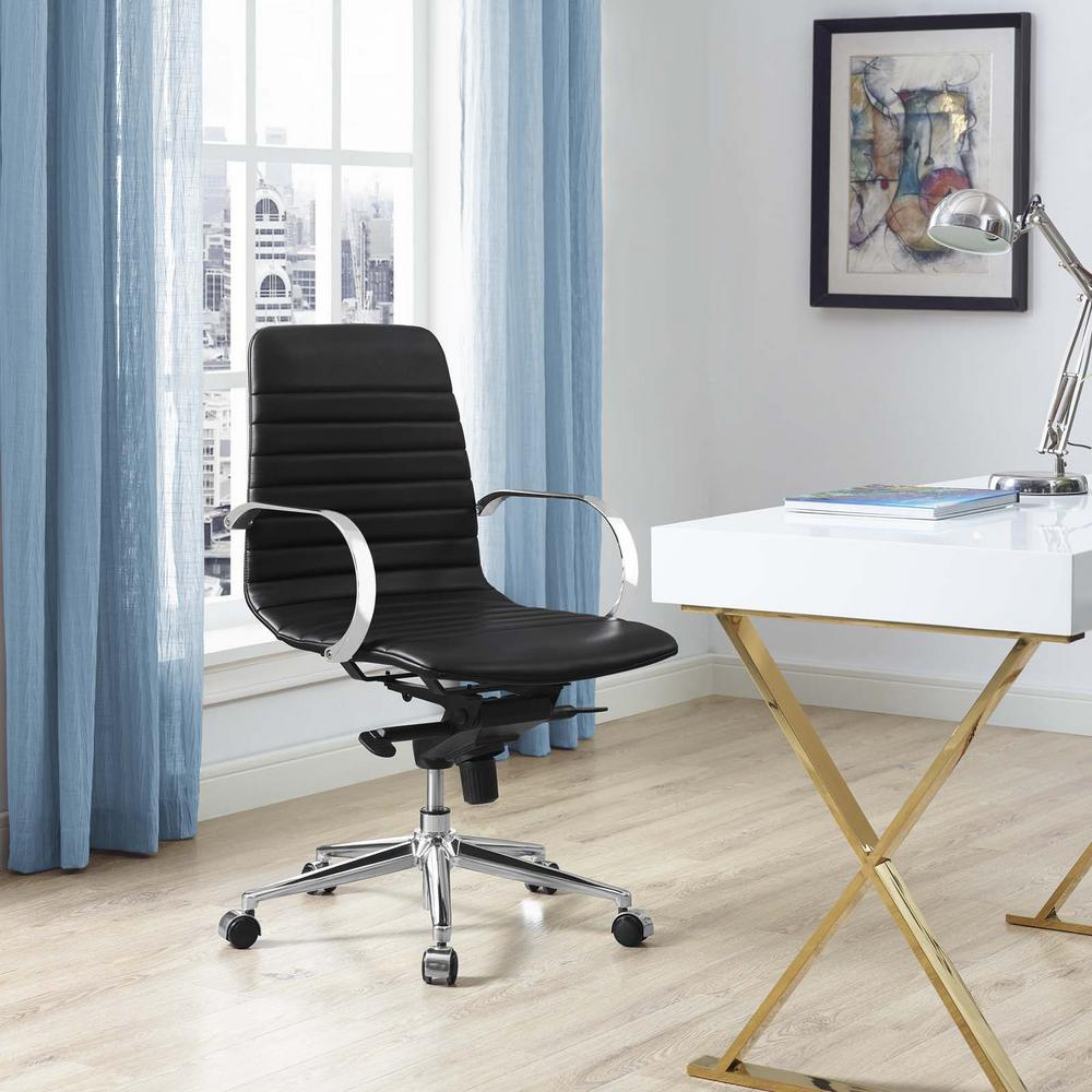 Groove Ribbed Back Office Chair in Black