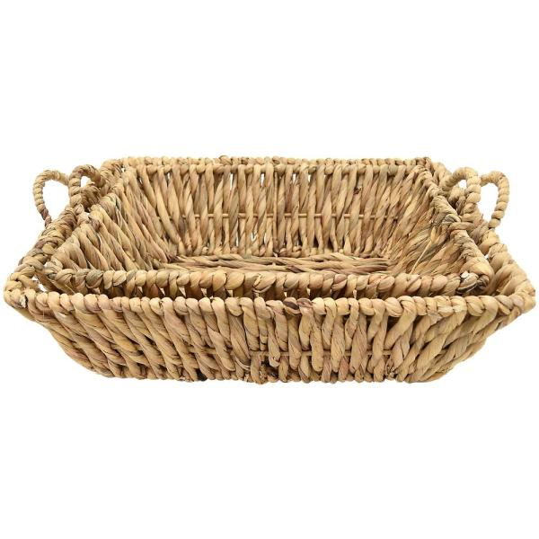 THREE HANDS Nature Fiber Water Hyacinth Tray (Set of 2)