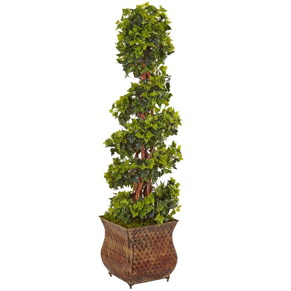 Indoor/Outdoor English Ivy Spiral Artificial Tree in Metal Planter, UV Resistant