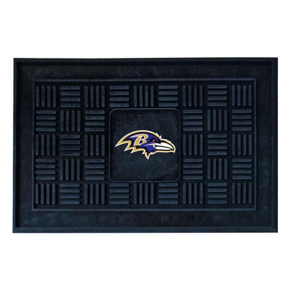 NFL Baltimore Ravens Black 19 in. x 30 in. Vinyl Outdoor Door Mat