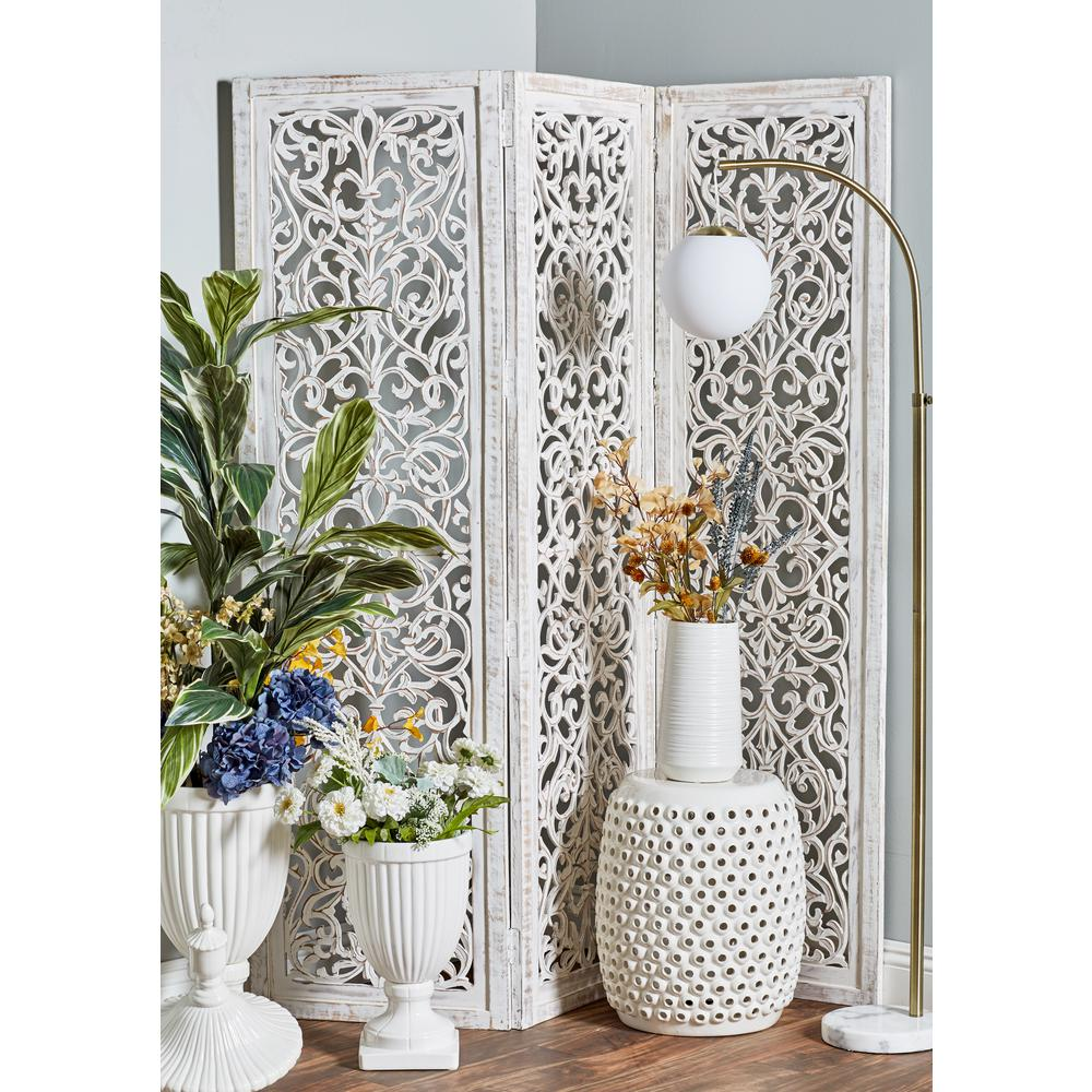 Litton Lane White Mdf And Mango Wood 3 Panel Screen With Flourish Carvings