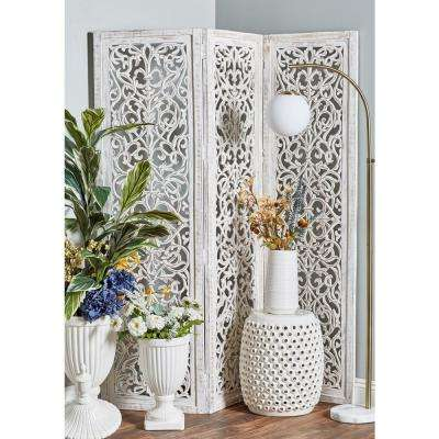 White MDF and Mango Wood 3-Panel Screen with Flourish Carvings