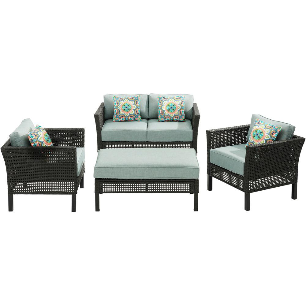 Malta 4-Piece Metal Patio Conversation Set with Oslo Blue Cushions