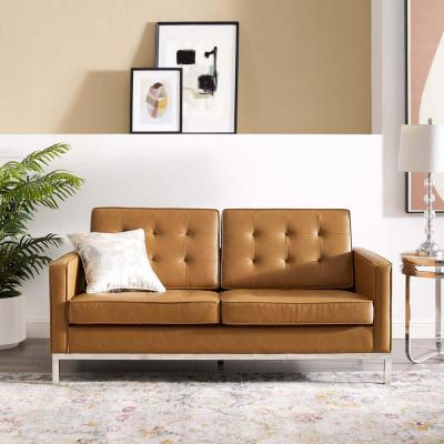Loft Tufted Silver Tan Upholstered Faux Leather Loveseat