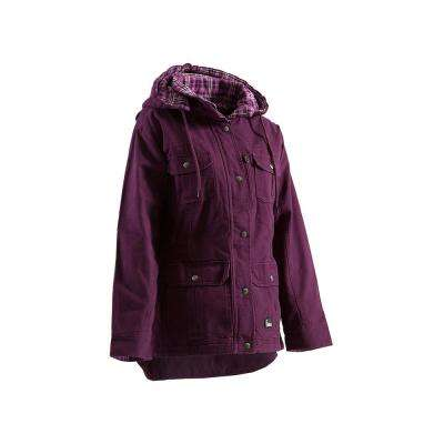 Women's Large Regular Plum Cotton Quilted Flannel Lined Washed Barn Quilted Lined Coat