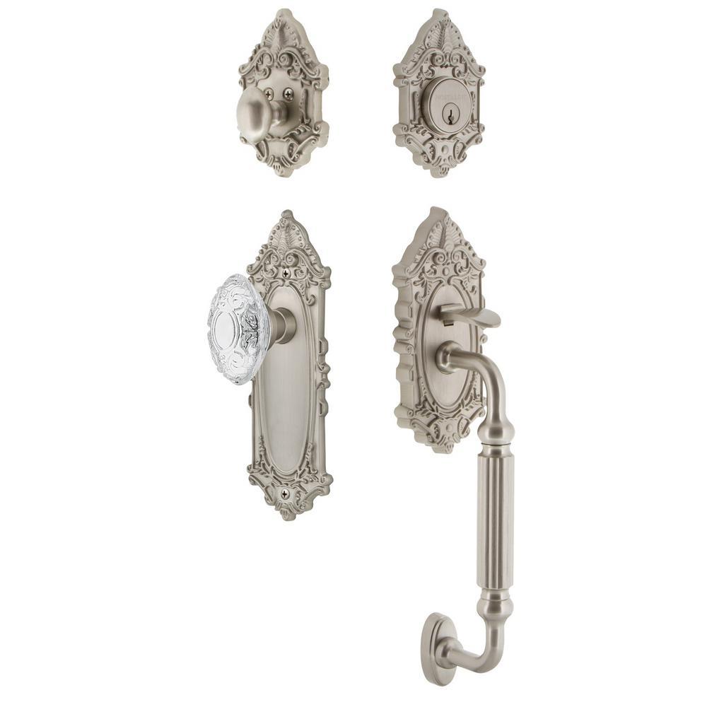 Victorian Plate 2-3/8 in. Backset Satin Nickel F Grip Handleset Crystal Victorian Door Knob