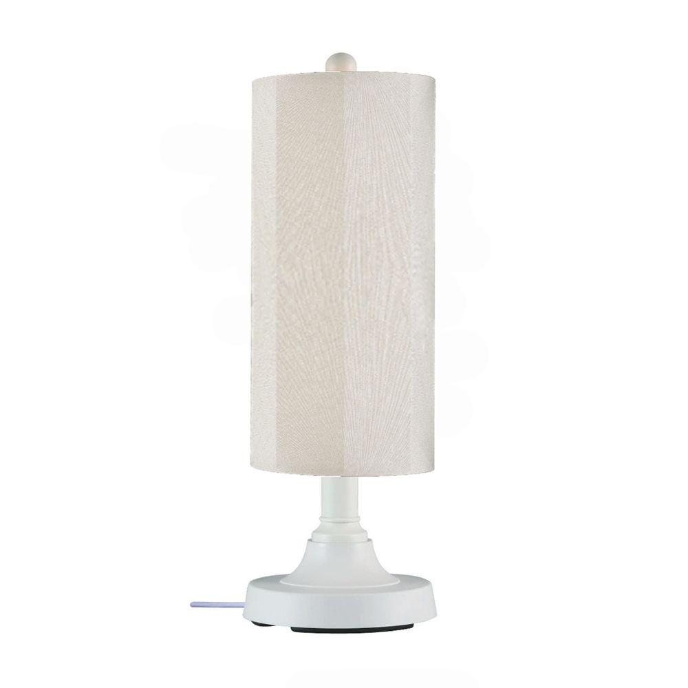 Patio living concepts coronado 30 in white outdoor table lamp with patio living concepts coronado 30 in white outdoor table lamp with canvas linen cylinder shade mozeypictures Image collections