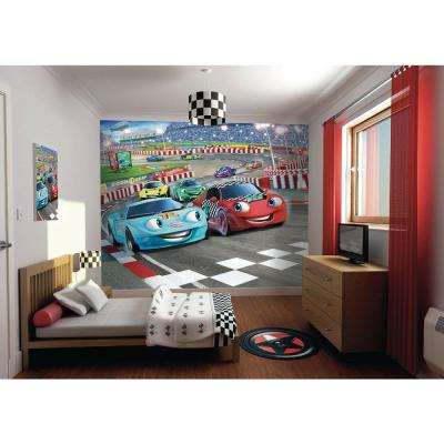 120 in. H x 96 in. W Car Racers Wall Mural