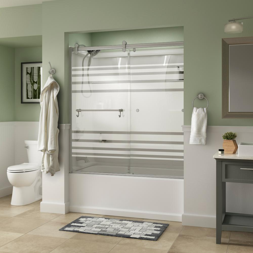 Portman 60 in. x 58-3/4 in. Semi-Frameless Contemporary Sliding Bathtub Door